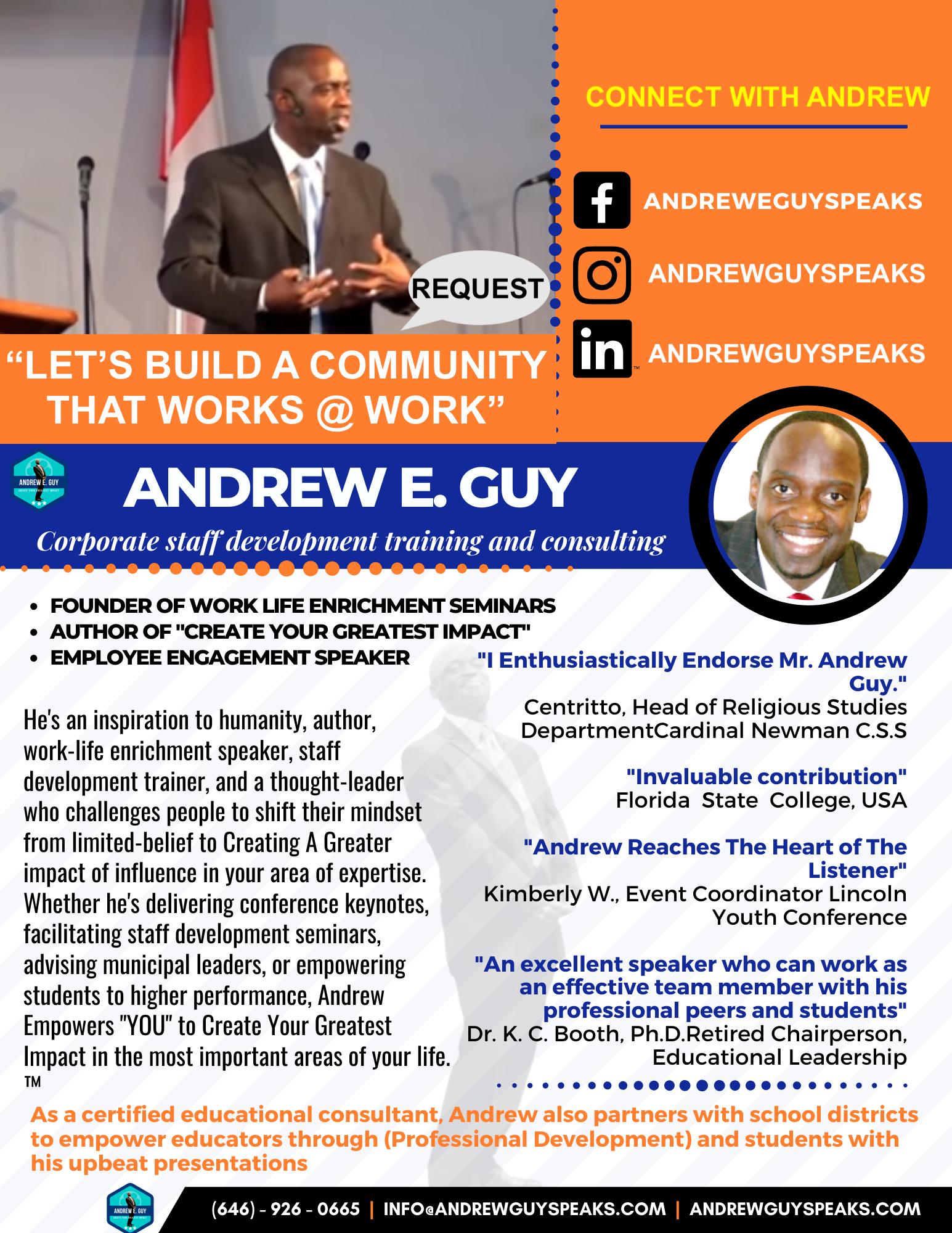 SPEAKER ONESHEET, corporate speaker, andrewguy, conference speaker