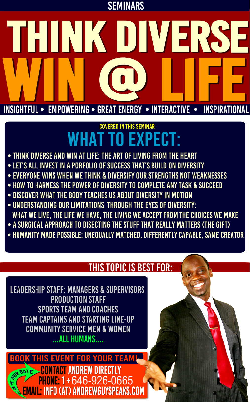 DEI, WIN AT LIFE,corporate speaker, andrewguy, conference speaker
