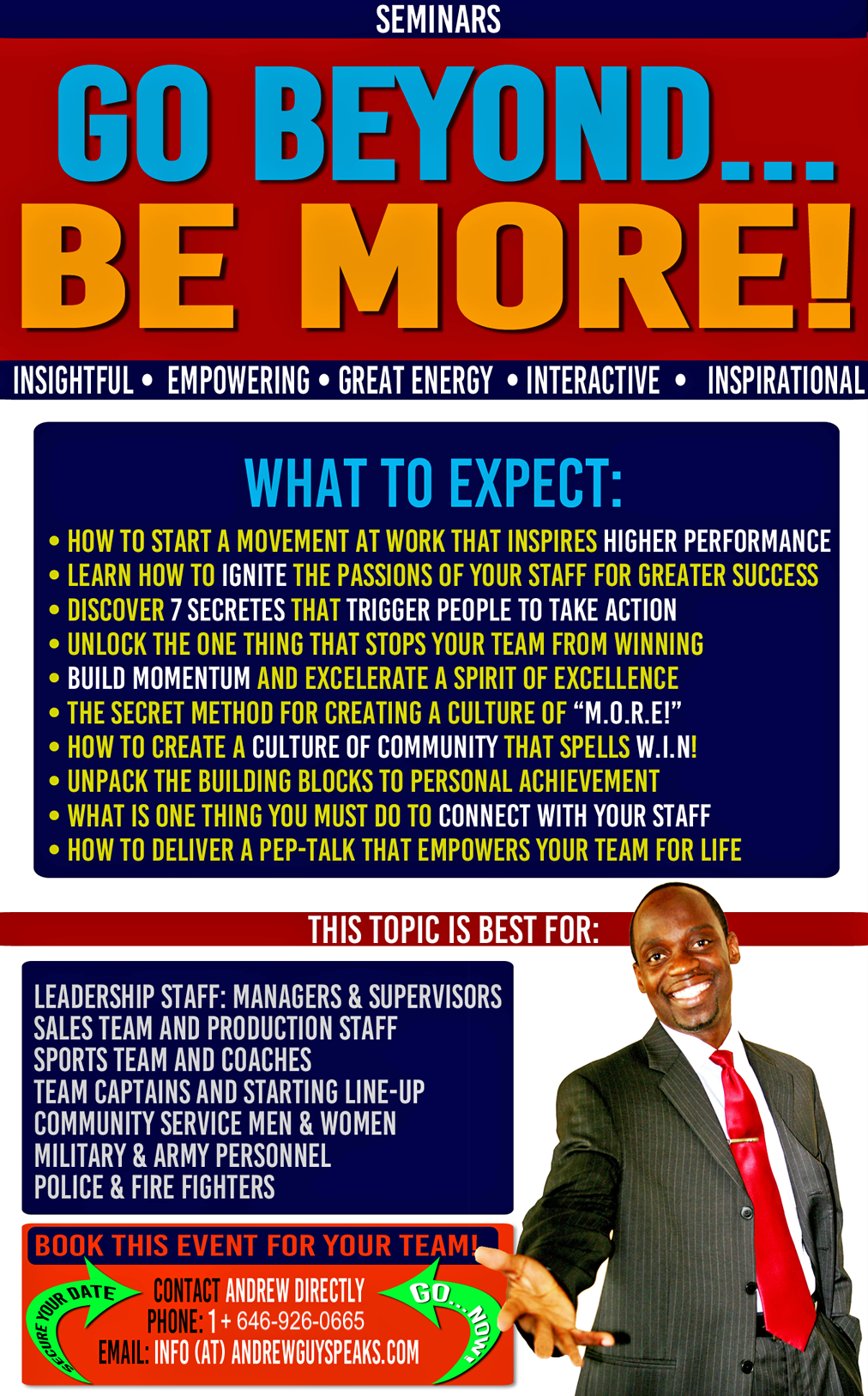BE MORE, corporate speaker, andrewguy, conference speaker
